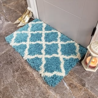 Maxy Home Shag Moroccan Trellis Turquoise Blue and Ivory Accent Rug (1'8 x 2'7) - 1'8 x 2'7
