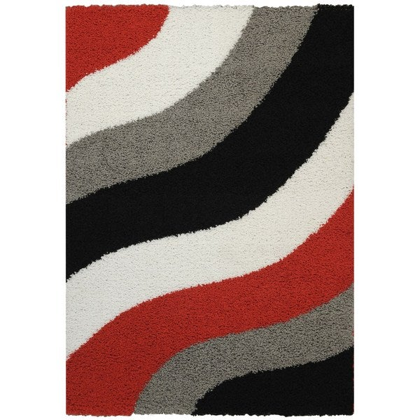 Maxy Home Block Striped Waves Red Black White Grey Area Rug 5 X27