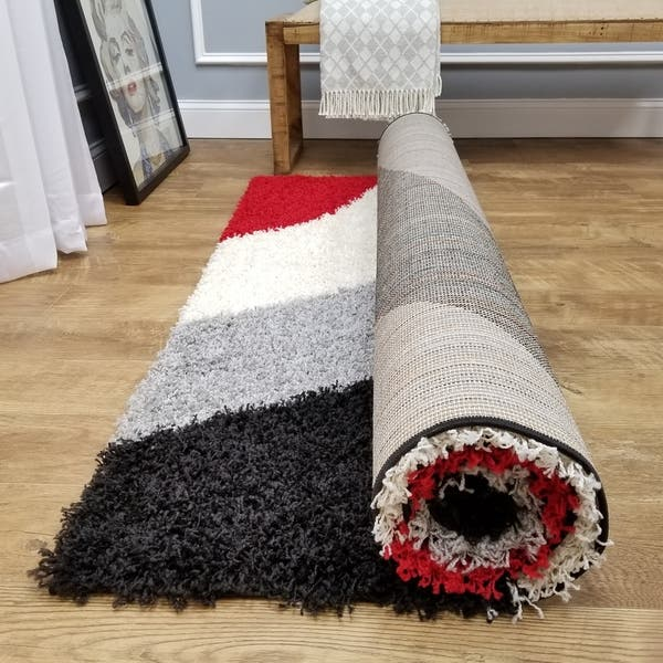Maxy Home Shag Block Striped Waves Red Black White Grey Area Rug 6 7 X 9 3 Multi Color 6 7 X 9 3 Overstock 9316065
