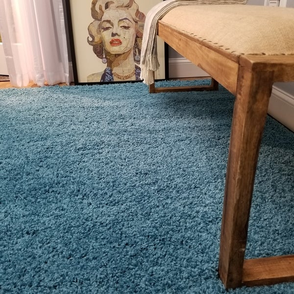 Maxy Home Collection French Blue Shag Area Rug Single Solid Color - 5' x 7'