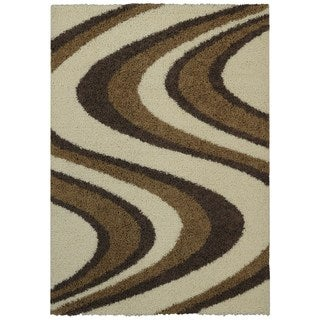 Maxy Home Shag Picasso Striped Wave Ivory Beige Brown Area Rug (6'7 x 9'3)