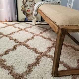 Maxy Home Shag Moroccan Trellis Ivory and Brown Area Rug (5' x 7')