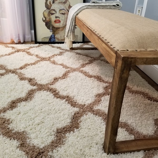 Maxy Home Moroccan Trellis Ivory And Brown Area Rug 6 X27 7