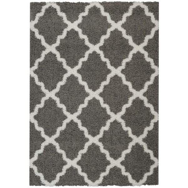 Maxy Home Shag Moroccan Trellis Grey And White Area Rug (5