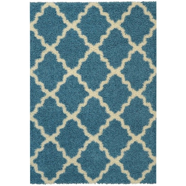 Maxy Home Shag Moroccan Trellis Turquoise Blue And Ivory