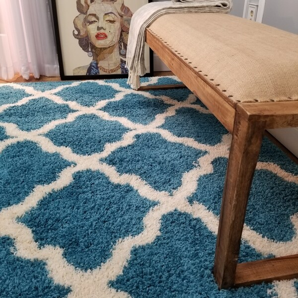 Maxy Home Shag Moroccan Trellis Turquoise Blue and Ivory Area Rug - 5' x 7'