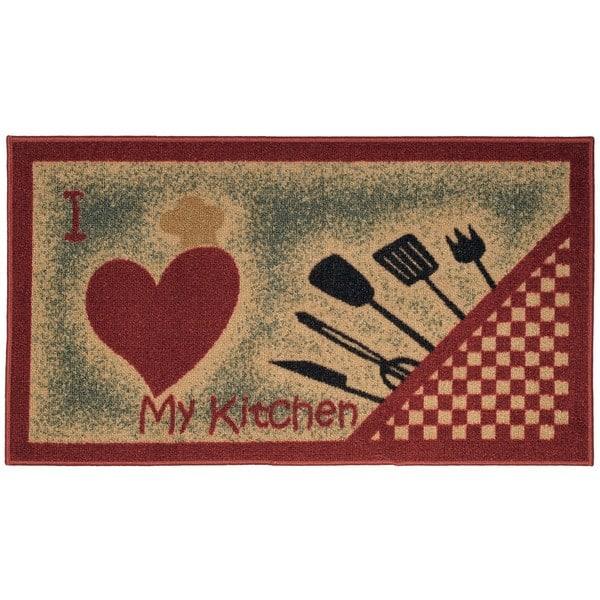 I Love My Kitchen and Utensils Non-Slip Kitchen Mat Rubber Back Rug (1\'6 x  2\'6) - 1\'6 X 2\'6