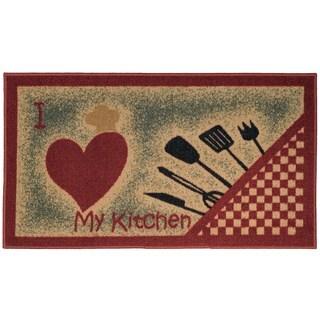I Love My Kitchen and Utensils Non-slip Rubber Back Kitchen Mat (1'6 x 2'6)