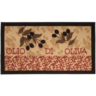 Italian Kitchen Olive Garden Non-Slip Kitchen Mat Rubber Back Rug (1'6 x 2'6)