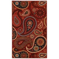 Rubber Back Red Paisley Floral Non-Slip Door Mat Rug (1'6 x 2'6) - 1'6 x 2'6