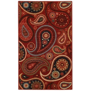 "Rubber Back Red Paisley Floral Non-Slip Door Mat Rug (1'6 x 2'6) - 1'6"" x 2'6"""