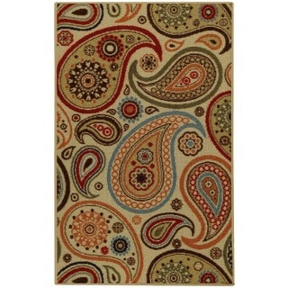 Rubber Back Ivory Paisley Floral Non-Slip Door Mat Rug (1'6 x 2'6)