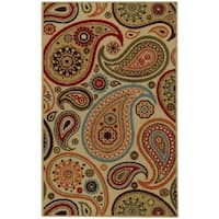 Rubber Back Ivory Paisley Floral Non-Slip Door Mat Rug - 1'6 x 2'6