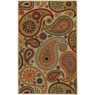 Rubber Back Ivory Paisley Floral Non-Slip Door Mat Rug (1'6 x 2'6) - 1'6 x 2'6