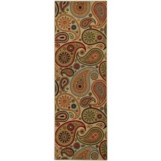 Rubber Back Ivory Paisley Floral Non-Slip Long Runner Rug (2'8 x 9'10)
