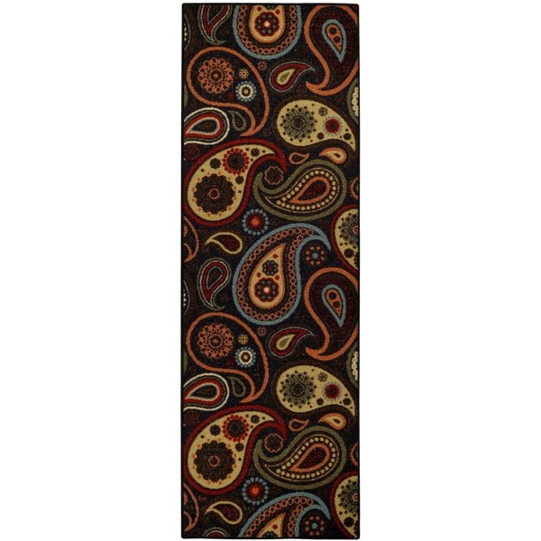 Rubber Back Black Charcoal Paisley Floral Non-Slip Runner Rug (1'6 x 4'11) - 1'6 x 4'11