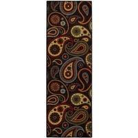 Rubber Back Black Paisley Floral Non-Slip Long Runner Rug (2'8 x 9'10) - 2'8 x 9'10