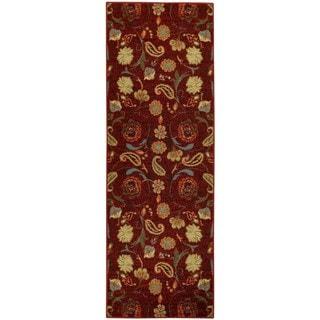 Rubber Back Burgundy Red Multicolor Floral Non-Slip Long Runner Rug (2'8 x 9'10)
