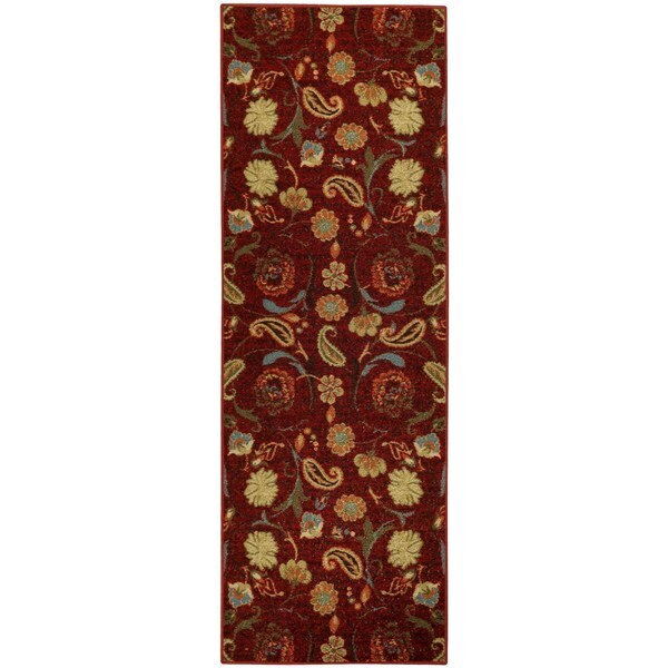 Rubber Back Burgundy Red Multicolor Floral Non-Slip Long Runner Rug (2'8 x 9'10) - 2'8 x 9'10