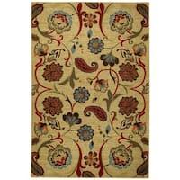 "Rubber Back Beige Multicolor Floral Non-Slip Door Mat Rug (1'6 x 2'6) - green - 1'6"" x 2'6"""