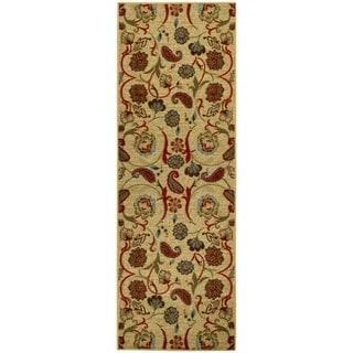 Rubber Back Beige Multicolor Floral Non-Slip Long Runner Rug (2'8 x 9'10)