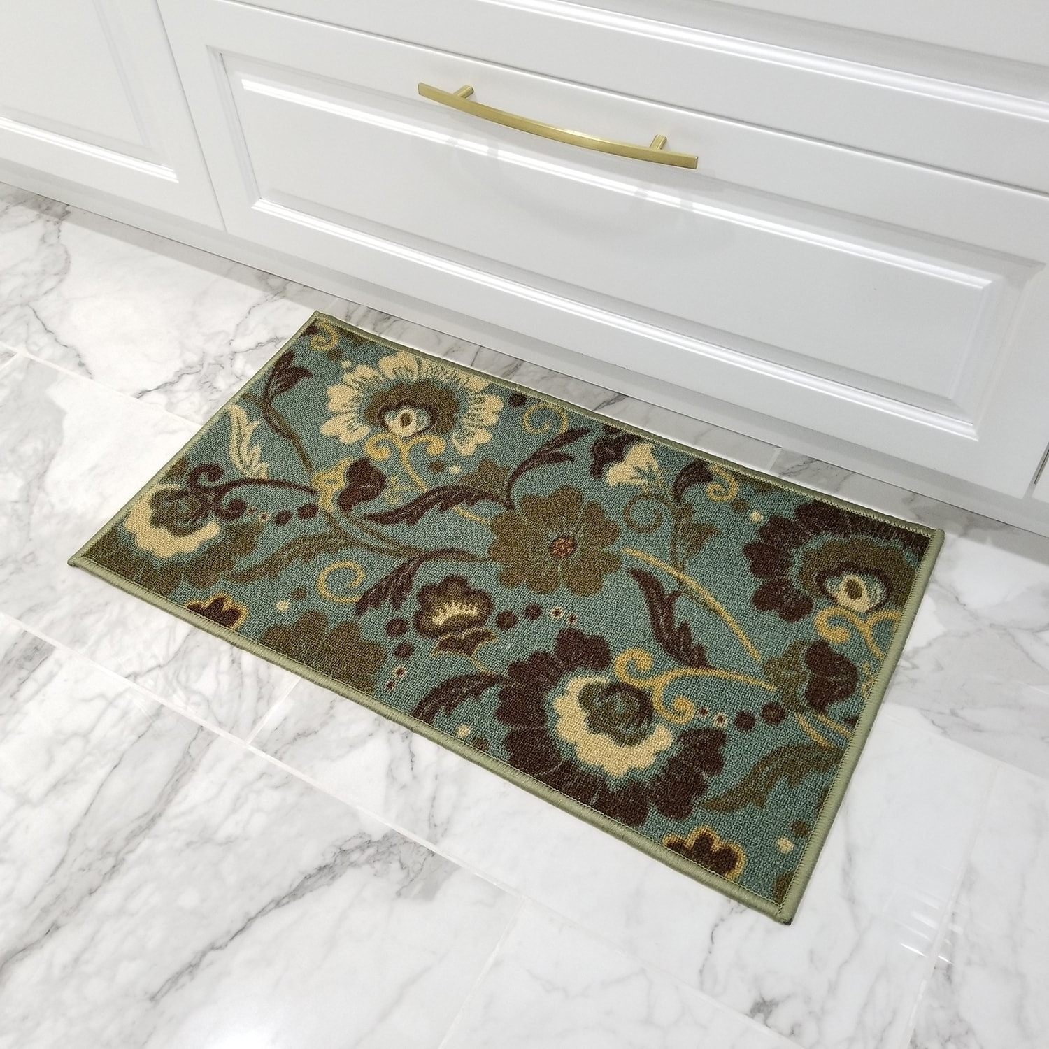 Rubber Back Ocean Blue Floral Non-Slip Door Mat Rug (1'6 ...
