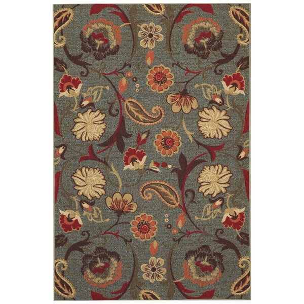 Rubber Back Ocean Blue Fl Non Slip Area Rug 3 X27