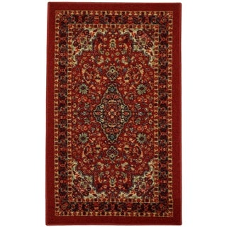 Rubber Back Red Traditional Floral Non-Slip Door Mat Rug - 1'6 x 2'6
