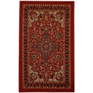 """Rubber Back Red Traditional Floral Non-Slip Door Mat Rug (1'6 x 2'6) - 1'6"""" x 2'6"""""""