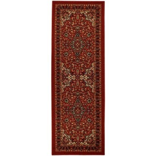 Rubber Back Red Traditional Floral Non-Slip Runner Rug (1'6 x 4'11) - 1'6 x 4'11