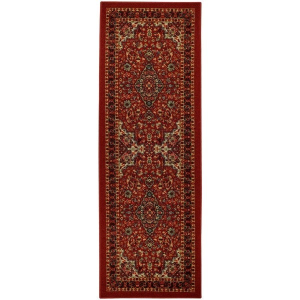 Rubber Back Red Traditional Floral Non-Slip Long Runner Rug (2'8 x 9'10) - 2'8 x 9'10