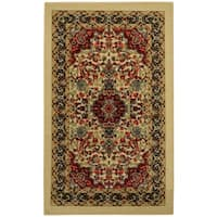Rubber Back Ivory Traditional Floral Non-Slip Door Mat Rug (1'6 x 2'6) - 1'6 x 2'6