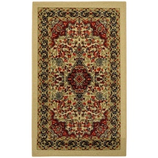 Rubber Back Ivory Traditional Floral Non-Slip Door Mat Rug - 1'6 x 2'6
