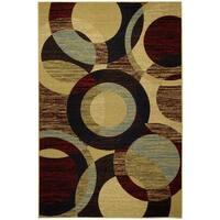Rubber Back Multicolor Circles Non-Slip Door Mat Rug - 1'6 x 2'6