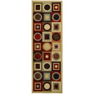 Rubber Back Multicolor Geometric Non-Slip Long Runner Rug (2'8 x 9'10) - 2'8 x 9'10