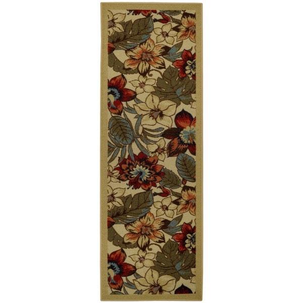 Rubber Back Ivory Multicolor Floral Garden Non-Slip Runner Rug (1'6 x 4'11) - Ivory/Red - 1'6 x 4'11