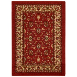 Rubber Back Red Traditional Floral Non-Slip Door Mat Rug (1'6 x 2'6)