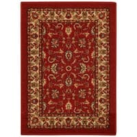 Rubber Back Red Traditional Floral Non-Slip Door Mat Rug (1'6 x 2'6) - 1'6 x 2'6