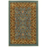 Rubber Back Ocean Blue Traditional Floral Non-Slip Door Mat Rug - 1'6 x 2'6
