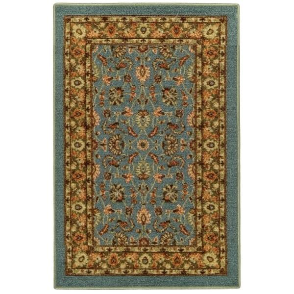 "Rubber Back Ocean Blue Traditional Floral Non-Slip Door Mat Rug (1'6 x 2'6) - blue/green/ivory - 1'6"" x 2'6"""