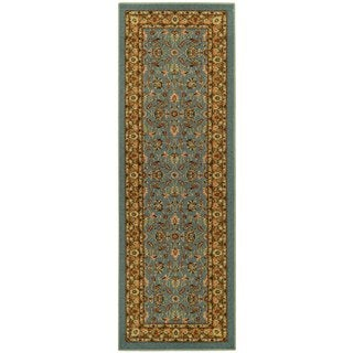 Rubber Back Ocean Blue Traditional Floral Non-Slip Runner Rug (1'6 x 4'11)