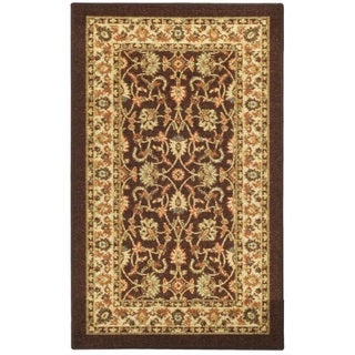 "Rubber Back Brown Traditional Floral Non-Slip Door Mat Rug (1'6 x 2'6) - 1'6"" x 2'6"""