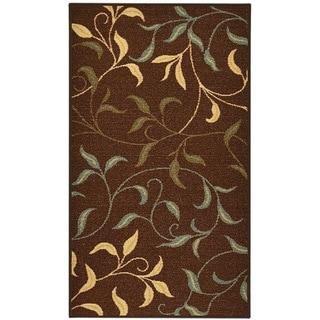 Rubber Back Chocolate Brown Floral Garden Non-Slip Door Mat Rug (1'6 x 2'6)