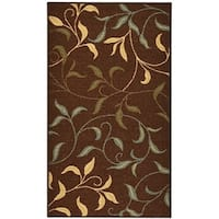 Hammam Collection Chocolate Brown Nylon Floral Nonslip Door Mat/Rug with Rubber Back - 1'6 x 2'6