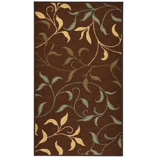 "Rubber Back Chocolate Brown Floral Garden Non-Slip Door Mat Rug (1'6 x 2'6) - 1'6"" x 2'6"""