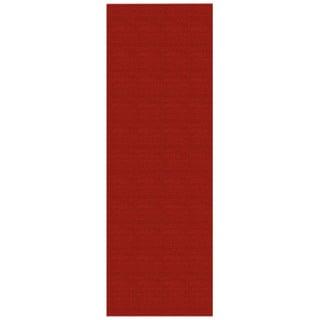 Solid Red Rubber Back Non-Slip Long Runner Rug (2'8 x 9'10)