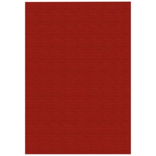 Solid Red Rubber Back Non-Slip Area Rug (5' x 6'6)