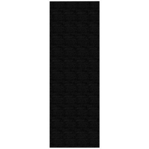 Solid Black Rubber Back Non-Slip Long Runner Rug (2'8 x 9'10) - 2'8 x 9'10