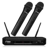Pyle PDWM2130 Dual Channel Wireless Microphone Dual Frequency Wireless Mic Receiver Set with 2 Handheld Dynamic Transmitter