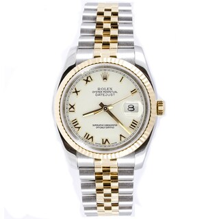 Pre-Owned Rolex Men's Datejust Steel and 18k Gold Jubilee Band White Roman Dial Watch